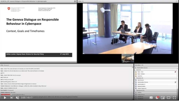 Information session about the Geneva Dialogue on Responsible Behaviour in Cyberspace