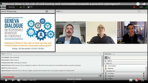 Webinar on the role of civil society and communities towards a peaceful cyberspace
